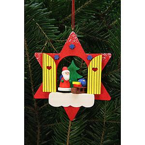 Christbaumschmuck Weihnachtsmann Christbaumschmuck Sternfenster mit Niko - 9,5x9,5 cm