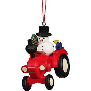 Baumschmuck Spielzeug-Design Christbaumschmuck Traktor mit Schneemann - 5,7x5,6 cm