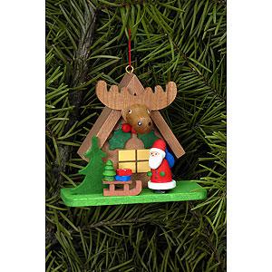 Baumschmuck Weihnachtsmann Christbaumschmuck Waldhaus mit Weihnachtsmann - 7,1x6,2 cm