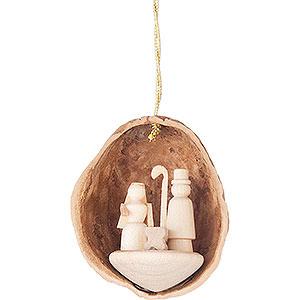Baumschmuck Walnussschalen Christbaumschmuck Walnussschale mit Christi Geburt - 4,5 cm
