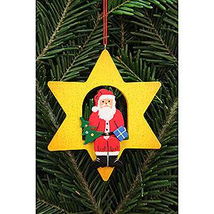 Christbaumschmuck Weihnachtsmann Christbaumschmuck Weihnachtsmann im Stern - 9,5x9,5 cm