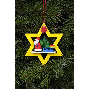 Baumschmuck Weihnachtsmann Christbaumschmuck Weihnachtsmann im gelben Stern - 6,8x7,8 cm
