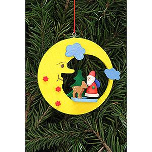 Christbaumschmuck Weihnachtsmann Christbaumschmuck Weihnachtsmann mit Bambi im Mond - 8,3x7,9 cm