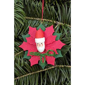 Baumschmuck Weihnachten Christbaumschmuck Weihnachtsstern mit Weihnachtsmann - 6,5x6,5 cm