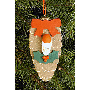 Christbaumschmuck Weihnachten Christbaumschmuck Zapfen mit Nikogesicht - 4,4x8,8 cm