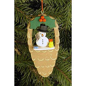 Baumschmuck Schneemänner Christbaumschmuck Zapfen mit Schneemann und Vogel - 4,4x8,8 cm