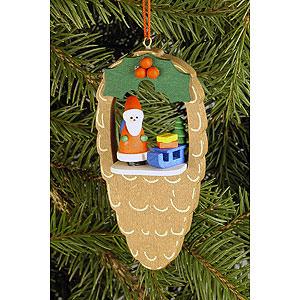 Baumschmuck Weihnachten Christbaumschmuck Zapfen mit Weihnachtsmann - 4,4x8,8 cm