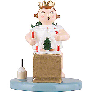 Angels Christmas Angels (Ellmann) Christmas Angel Sitting with Crown and Pyramid - 6,5 cm / 2.6 inch