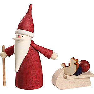 Small Figures & Ornaments Santa Claus Christmas Gnome with Sled - 7 cm / 2.8 inch