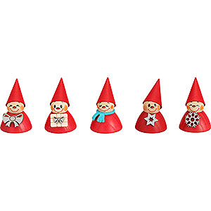 Small Figures & Ornaments Teeter figurines Christmas-Teeter, Set of Five, 4 cm / 1.6 inch