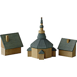 Angels Reichel decoration Church of Seiffen with Houses - 11 cm / 4.3 inch
