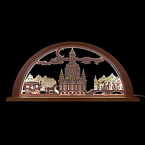 Candle Arches Fret Saw Work City Light Dresden - 69x32 cm / 27.2x12.6 inch