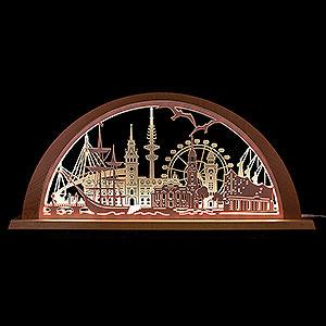 Candle Arches Fret Saw Work City Light Hamburg - 69x32 cm / 27.2x12.6 inch