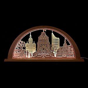 Candle Arches Fret Saw Work City Light Leipzig - 69x32 cm / 27.2x12.6 inch