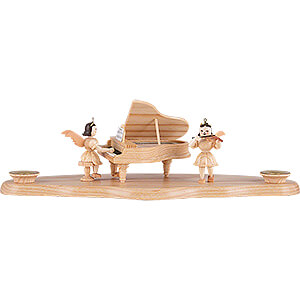 World of Light Candle Holder Angels Cloud Natural with Angel at the Piano - 29x12x10cm - 11.5x4.7x3.9 inch