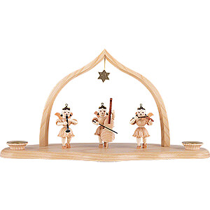 World of Light Candle Holder Angels Cloud Natural with Trio of Angels and Arch - 29x12x15 cm / 11.5x4.7x5.9 inch