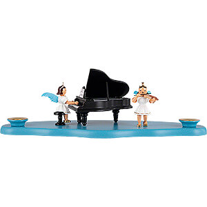 World of Light Candle Holder Angels Cloud with Angel at the Piano - 29x12x10 cm / 11.4x4.7x3.9 inch
