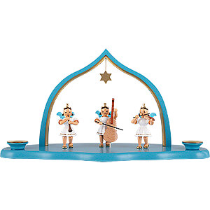 World of Light Candle Holder Angels Cloud with Trio of Angels and Pointed Arch - 29x12x15 cm / 11.4x4.7x5.9 inch