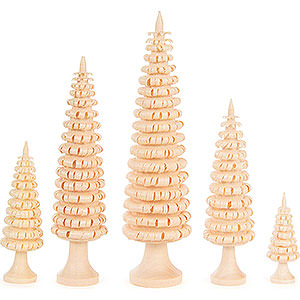 Small Figures & Ornaments Decorative Trees Coiled Trees with Trunk - 5 pieces - 12 cm / 4.7 inch