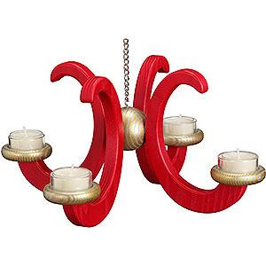 Lichterwelt Adventsleuchter Deckenleuchter, Esche, rot lasiert - 33x16 cm