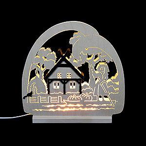 Schwibbögen Laubsägearbeiten Dekoleuchter Spreewald -LED - 30x28,5x4,5 cm