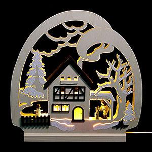 Schwibbögen Laubsägearbeiten Dekoleuchter Waldhaus - LED - 30x28,5x4,5 cm