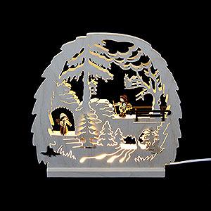 Schwibbögen Laubsägearbeiten Dekoleuchter Waldmotiv - LED - 30x28,5x4,5 cm