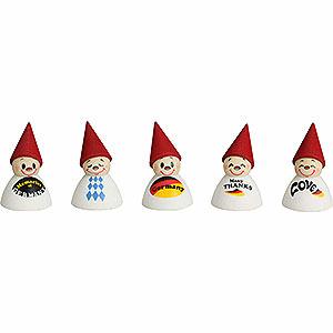 Kleine Figuren & Miniaturen alles Andere Deutsche Fan-Wippel mit Spruch, 5er Satz - 4 cm