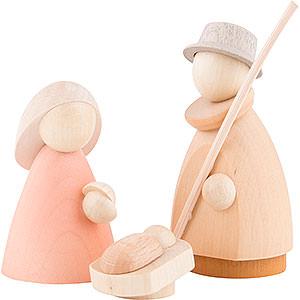 Kleine Figuren & Miniaturen Krippen Die heilige Familie - modern lasiert - 8,5x3,5x8 cm