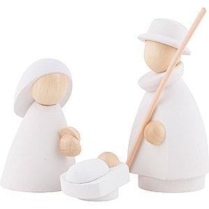 Kleine Figuren & Miniaturen Krippen Die heilige Familie - modern weiß/natur - 8,5x3,5x8 cm