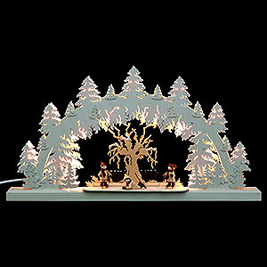 Candle Arches Fret Saw Work Double-Arch Ice Skater (3 Figures) - 62x33x5,5 cm / 24x13x2 inch