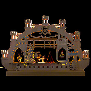 Candle Arches Fret Saw Work Double-Arch Village Christmas - 42x30x4,5 cm / 16x12x2 inch
