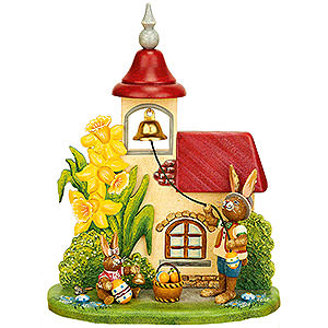 Small Figures & Ornaments Animals Rabbits Easter Bells Ringing - 14x18 cm / 5,5x7 inch