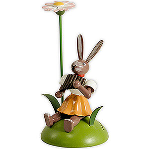 Small Figures & Ornaments Easter World Easter Bunny with Daisy and Panpipes, Colored - 10 cm / 3.9 inch