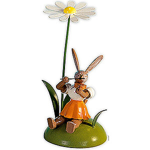 Small Figures & Ornaments Easter World Easter Bunny with Marguerite and Violin, Colored - 10 cm / 3.9 inch