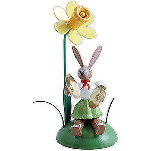 Small Figures & Ornaments Easter World Easter Bunny with Narcissus and Cymbals, Colored - 10 cm / 3.9 inch