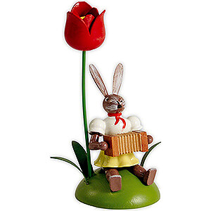 Small Figures & Ornaments Easter World Easter Bunny with Tulip and Accordion, Colored - 10 cm / 3.9 inch