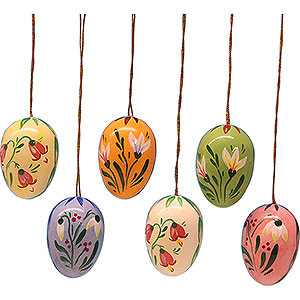 Tree ornaments Easter Ornaments Easter Egg Set with Flowers - 3,5 cm / 1.4 inch