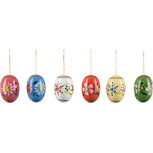 Tree ornaments Misc. Tree Ornaments Easter Egg Set with Flowers - 5,5 cm / 2.2 inch