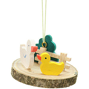 Tree ornaments Misc. Tree Ornaments Easter Ornament - Duck on Tree Slice - 4,2 cm / 1.7 inch