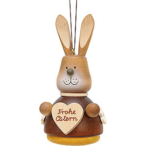 Tree ornaments Misc. Tree Ornaments Easter Ornament - Teeter Bunny with Heart Natural - 9,8 cm / 3.9 inch