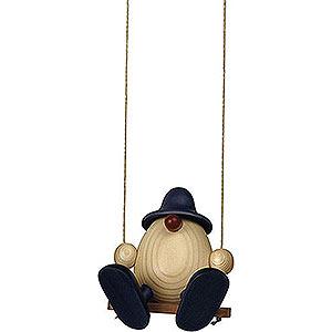 Small Figures & Ornaments Björn Köhler Eggheads small Egghead Bruno on Swing, Blue - 11 cm / 4.3 inch