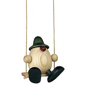 Small Figures & Ornaments Björn Köhler Eggheads small Egghead Bruno on Swing, Green - 11 cm / 4.3 inch