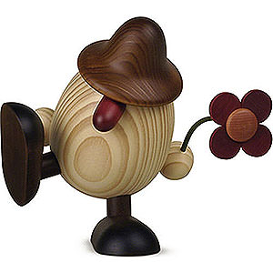 Small Figures & Ornaments Björn Köhler Eggheads large Egghead Father Anton with Flower Sitting/Dancing, Brown - 15 cm / 5.9 inch