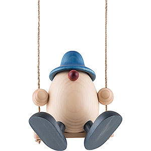 Gift Ideas Easter Egghead Father Bruno on Swing, Blue - 15 cm / 5.9 inch
