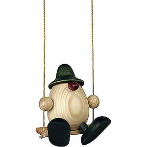Small Figures & Ornaments Björn Köhler Eggheads large Egghead Father Bruno on Swing, Green - 15 cm / 5.9 inch