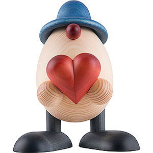 Small Figures & Ornaments Björn Köhler Eggheads large Egghead Father Hanno with Heart, Blue - 15 cm / 5.9 inch