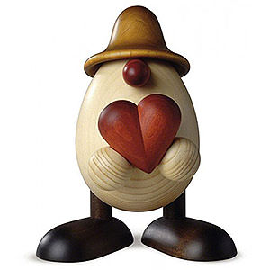Small Figures & Ornaments Björn Köhler Eggheads large Egghead Father Hanno with Heart, Brown - 15 cm / 5.9 inch