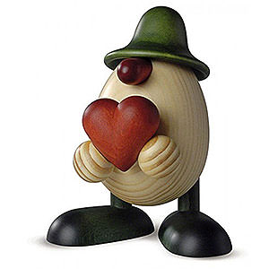 Small Figures & Ornaments Björn Köhler Eggheads large Egghead Father Hanno with Heart, Green - 15 cm / 5.9 inch