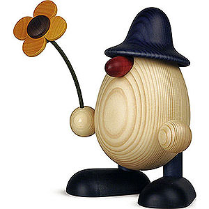 Small Figures & Ornaments Björn Köhler Eggheads large Egghead Father Rudi with Flower Standing, Blue - 15 cm / 5.9 inch